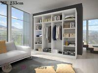2 Sliding door mirrored wardrobe . Perfect interior . MU 10 . Many colours ALL IN STOCK