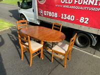Solid pine wood dining room table and 4 chairs £75