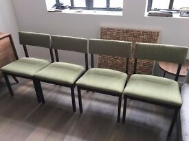 4 newly recovered solid wood dining chairs
