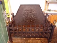 Cast iron fireback and grate in good condition
