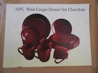 16pc bosa coupe dinner set chocolate
