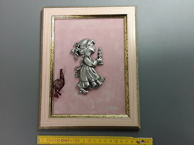 antique Frame deco wall little girl at candle tin of the prince