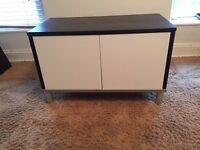 Ikea Besta TV Cabinet (Black/Brown frame with gloss white doors)