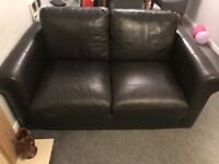 Real leather settee