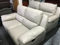 New/Ex Display LazyBoy Grey Leather 3 Seater Electric Recliner Sofa + 2 Seater Leather Recliner Sofa