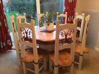 Handmade Pine Table & 8 Chairs.
