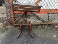 Small Dark Wood Occasional Telephone Hall Pedestal Table & Drawer
