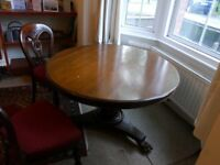 4 ft dia victorian mahogany dining table and 4 chairs