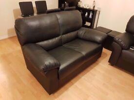 2 seater black faux leather sofa