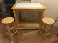 Breakfast Bar /wood and tile table top / 2 stools