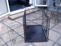 Ellie-Bo Dog Puppy Cage Folding 2 Door Crate with Metal Tray Large 36-inch Black