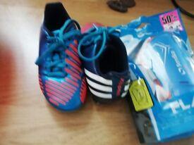 Adidas Kids size 10 football boots and Shin pads
