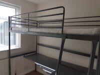 IKEA Svarta Loft Bed Frame with Desktop. Including Ikea Mattress if required