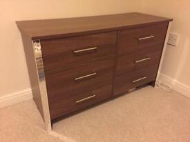 Low level wooden veneer chest of drawers