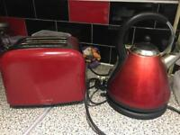 Red kettle and toaster set used