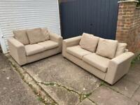 NEXT beige fabric 3&2 seater sofas in excellent condition