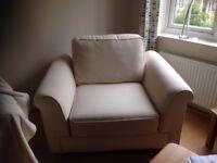Good condition cream large armchair