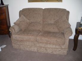 Vale, Sorrento fabric 2 seater settee and 2 electric reclining chair in cocoa. New.