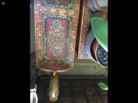 Vintage Indian hand painted side table bench, unusual attractive item.