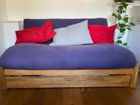 Futon company - LINEAR - 2 SEATER SOLID OAK DOUBLE SOFA BED