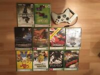 Xbox games, controller and memory box