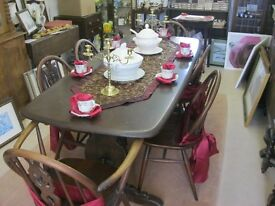 QUALITY VINTAGE LONG 'ERCOL' TABLE WITH 6 MATCHING CHAIRS. LOVELY SET. VIEWING/DELIVERY AVAILABLE