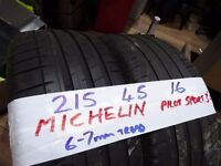 matching pair 215 45 16 MICHELINS 6mm TREAD £50 PAIR SUP & FITD (contis also)(LOADS MORE AV 7-DAYS)
