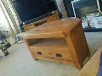 Tv corner stand solid rustic oak