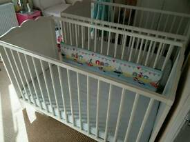 Ikea cot with mattress, mattress protector and bumpers