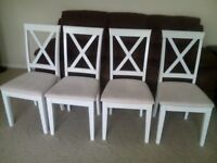 4 white chairs in good condition, £25