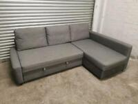 FREE DELIVERY IKEA FRIHETEN GREY L-SHAPED CORNER SOFA BED WITH STORAGE GOOD CONDITION