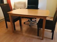 Dining table (wood)+ 3 free chairs