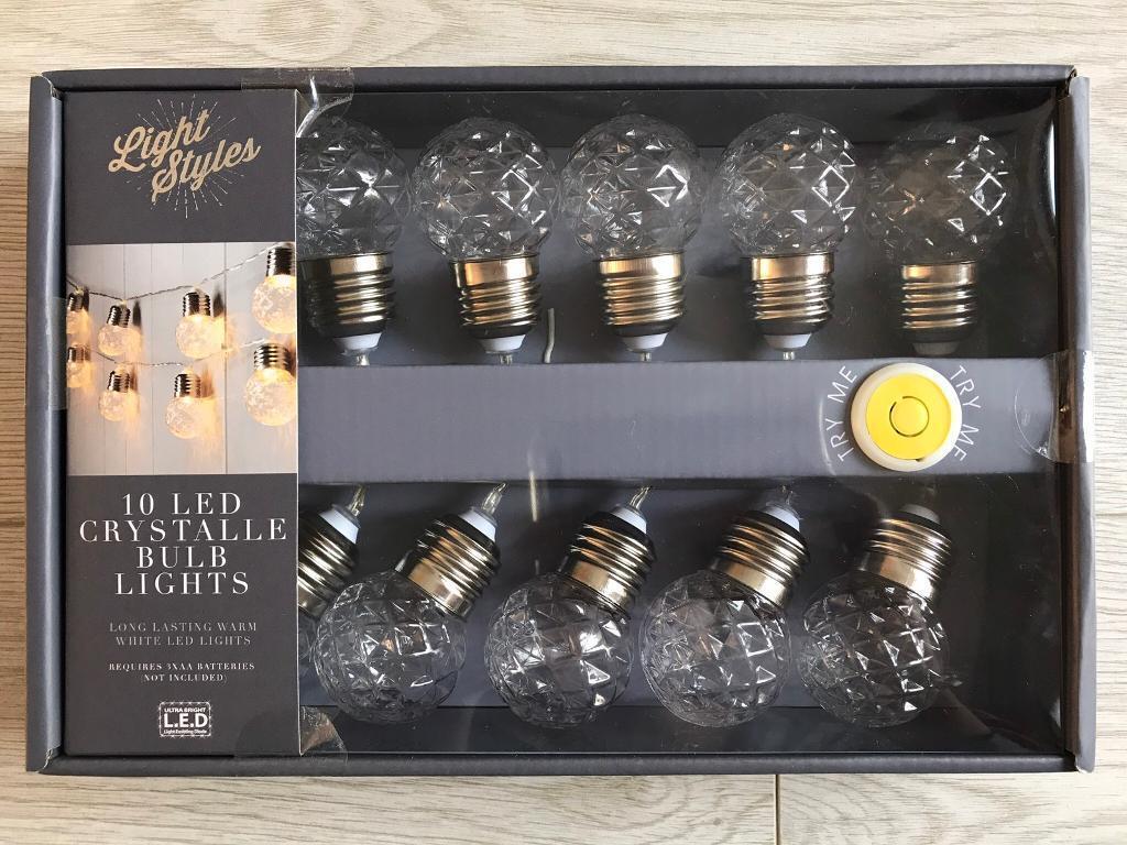 BRAND NEW LIGHT STYLES 10 LED CRYSTALLE BULB STRING LIGHTS