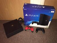 PS4 Pro 1tb with 2 official controllers boxed 4k output