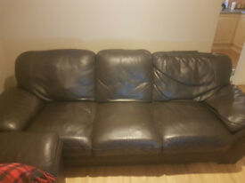Two Sofas Leather Dark brown, good condition
