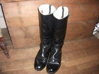 Vintage black leather motor cycle boots