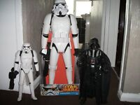 star wars figures two storm trooper and one darth vader excellent condition