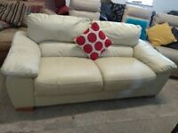 cream Leather sofa settee good condition Delivery Poss