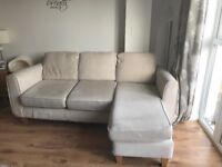 3 seater L shaped sofa with footstool