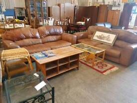 Light brown leather twin two seater sofa suite