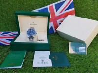 Rolex Submariner Silver Black Face - Complete Set Box And Papers 1 Year Free Warranty