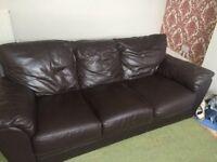 Free - Chocolate Colour, Leather, 3 Seater Sofa