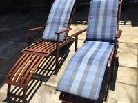 Comfortable wooden sunloungers