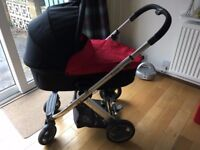 Oyster red/black pram/pushchair with maxi-cosi car seat and isofix base