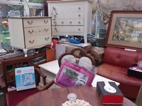 /furniture.,. and.,OVen , F/F. w/m tables CHESTS BEDDING CURTAINS BAGS ELECTRICS