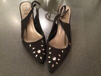 Black silk evening shoes size 8