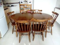 Kitchen table and six bannister chairs
