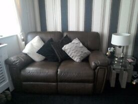 Sofas two x two seaters brown leather