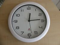 White Rim Office Wall Clock Analogue Battery Operated Alba