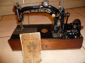 Antique 1875 Wheeler Wilson No.8 hand machine with separate hand winder & MANUAL